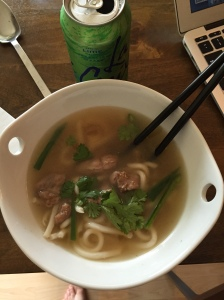 Duck pho, made with a bird from the market.