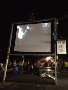 Frankenstein playing in the haunted midway