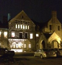 The mansion at night. It's so pretty!